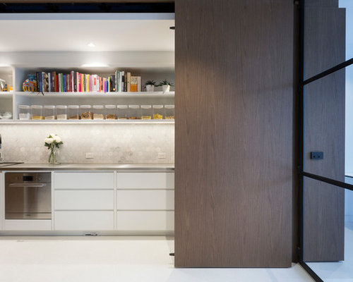 Contemporary Single Wall Wet Bar In Melbourne With Flat Panel Cabinets,  White Cabinets