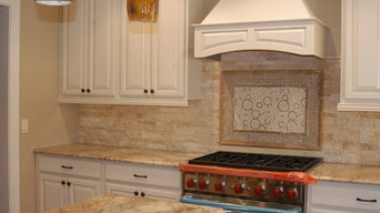 Stacked Stone Backsplash with Mural