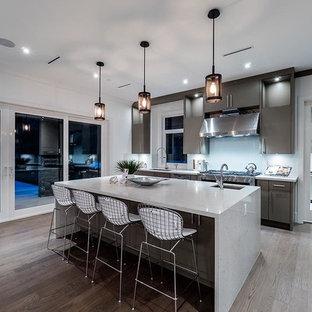 Esempio di una cucina parallela minimal con lavello sottopiano, ante lisce, ante grigie, paraspruzzi con lastra di vetro, elettrodomestici in acciaio inossidabile, parquet chiaro e isola