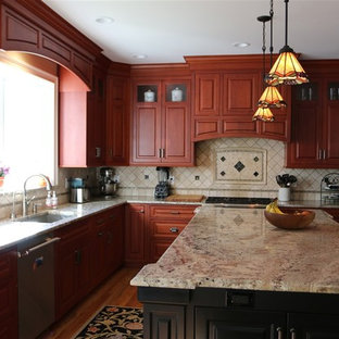 Stained cherry custom kitchen cabinets
