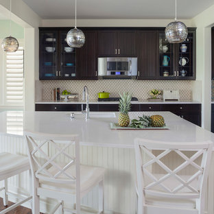 Inspiration for a mid-sized beach style galley eat-in kitchen in Denver with an undermount sink, louvered cabinets, dark wood cabinets, multi-coloured splashback, stainless steel appliances, dark hardwood floors, with island, brown floor and ceramic splashback.