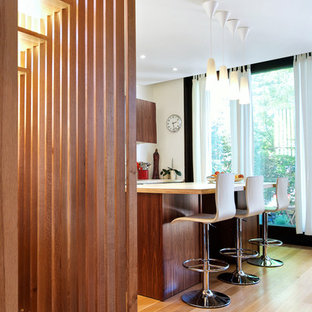 Stair Slats + Walnut Kitchen