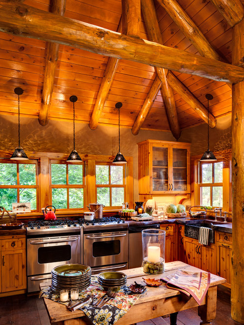 Mountain Style Kitchen Photo In Milwaukee With A Farmhouse Sink Medium Tone Wood Cabinets
