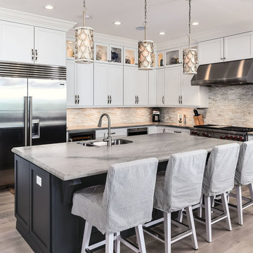 StarMark Cabinetry White and Gray Transitional Kitchen