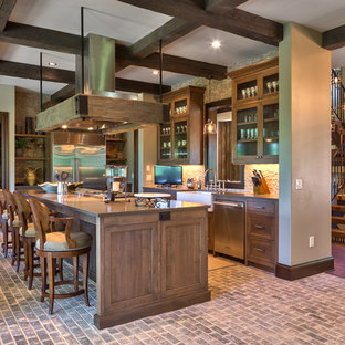 Rustic Kitchen Inspiration   Example Of A Mountain Style L Shaped Brick  Floor And Gray