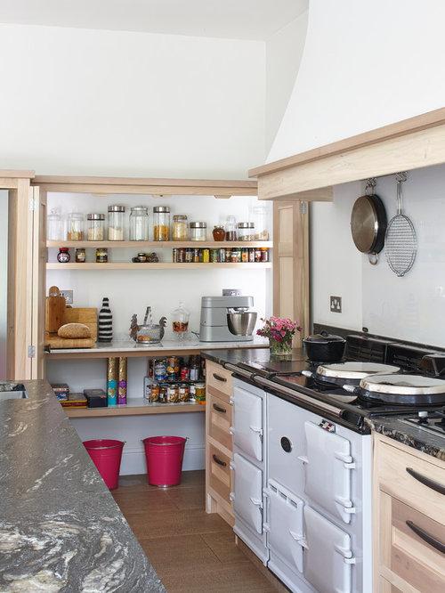 farmhouse kitchen pantry with glass sheet backsplash