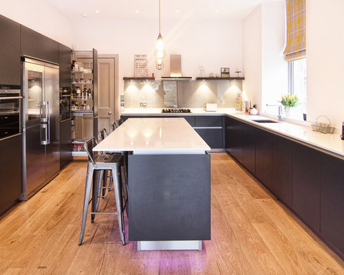 Contemporary Kitchen Inspiration   Inspiration For A Contemporary U Shaped  Medium Tone Wood Floor Kitchen Nice Ideas