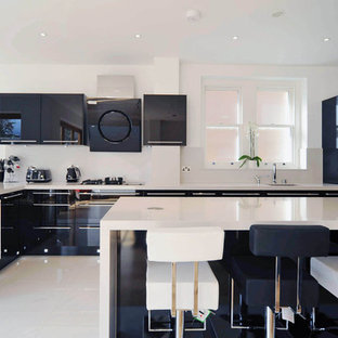 Inspiration for a contemporary kitchen remodel in London with flat-panel cabinets and black cabinets