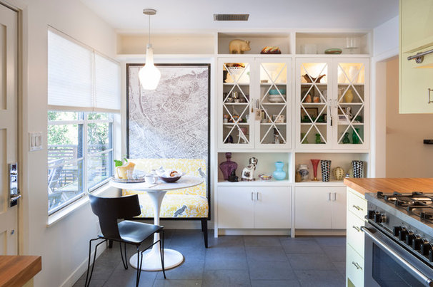 Kitchen of the week an austin galley kitchen opens up for Galley kitchen with breakfast nook