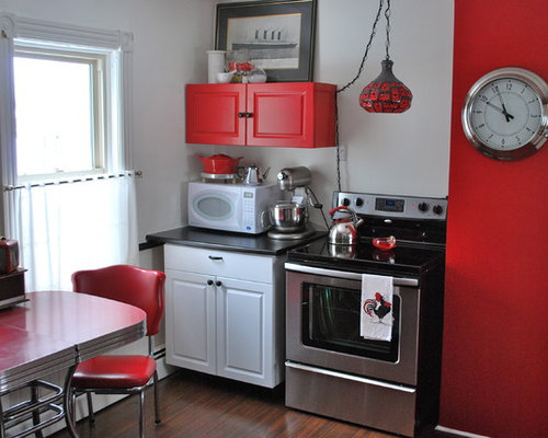 Example Of An Eclectic Kitchen Design In Other With Stainless Steel  Appliances And Red Cabinets Part 48