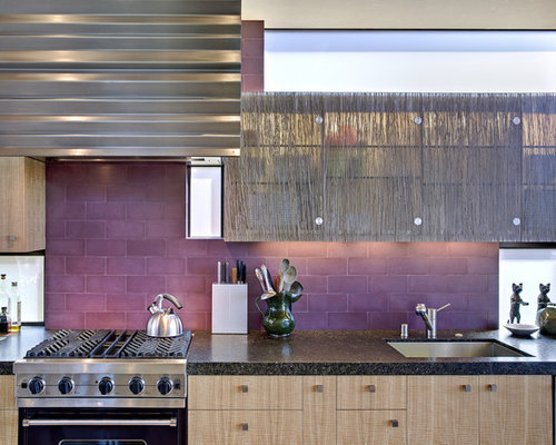 Example Of A Coastal Galley Eat In Kitchen Design In San Francisco With  Subway Tile