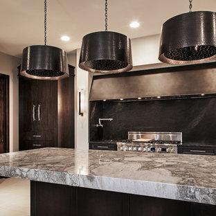 他の地域の大きいヴィクトリアン調のおしゃれなキッチン (黒いキャビネット、黒いキッチンパネル、シルバーの調理設備の) の写真