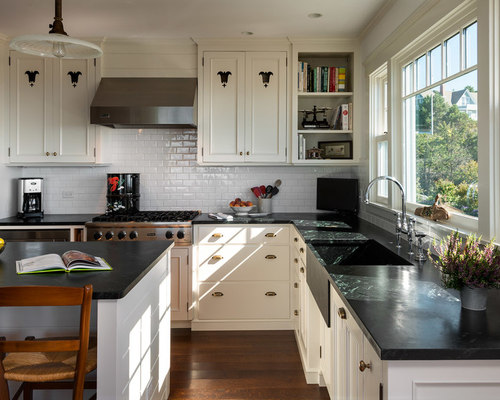 subway kitchen backsplash white cabinets with black countertops houzz 2598