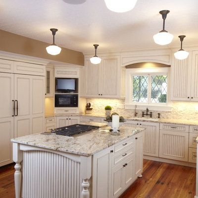 Kitchen - traditional kitchen idea in Tampa with an undermount sink and granite countertops