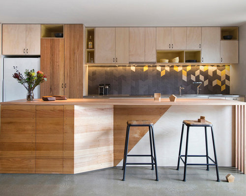 Mid Sized Contemporary Kitchen Designs   Mid Sized Contemporary Galley  Kitchen Idea In Melbourne