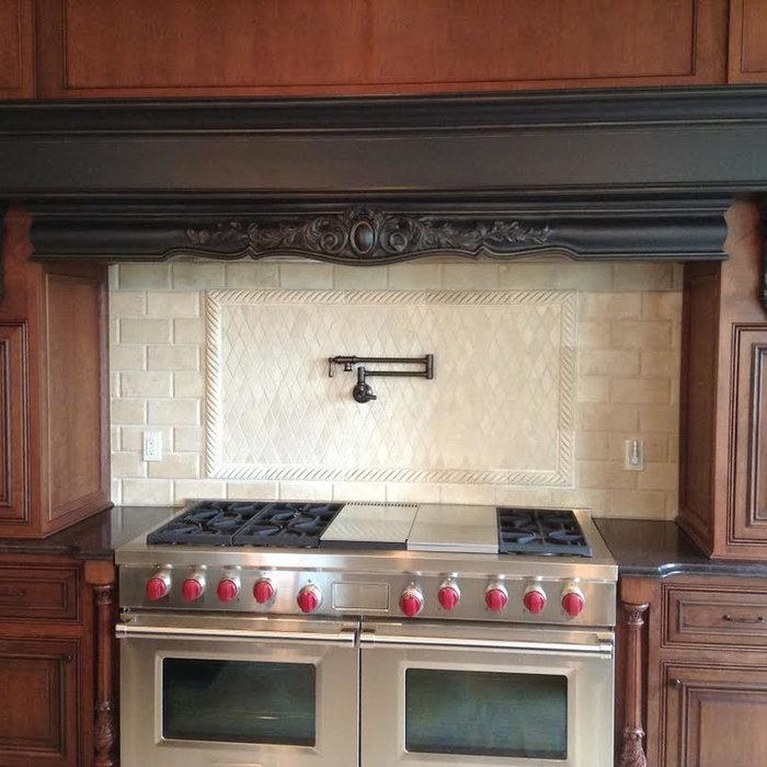 Kitchen Island Cabinets and Stove Mantle