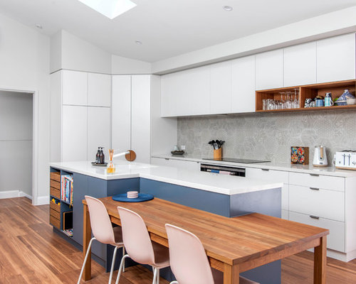 Photo Of A Contemporary L Shaped Eat In Kitchen In Canberra   Queanbeyan  With