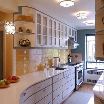 Streamline Moderne Kitchen design for a 1920s-era Art Deco Apartment