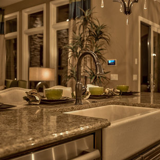 Example of a transitional kitchen design in Omaha
