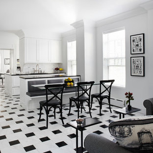 Inspiration for a contemporary eat-in kitchen in Chicago with a single-bowl sink, white cabinets, granite benchtops, white splashback and subway tile splashback.