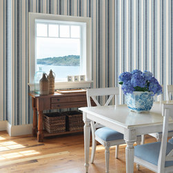 Stripes by Chesapeake - A classic pairing, this blue and white kitchen is fresh and stylish with Victorian style furniture and a textural stripe wallpaper. A perfect decorating idea for a cottage home or ocean retreat.