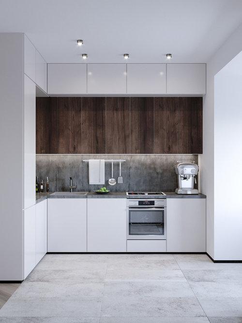 Kleine Küchen mit Rückwand aus Zementfliesen Ideen, Design & Bilder ...