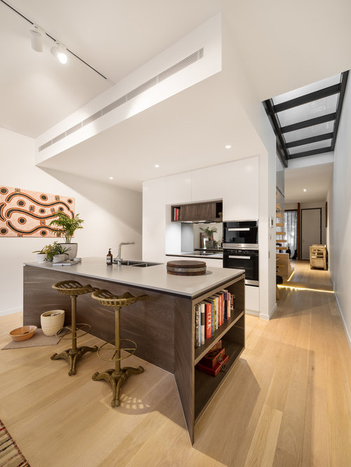 Inspiration For A Contemporary Galley Kitchen In Melbourne With An  Undermount Sink, Flat Panel