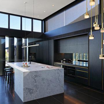 Stunning Dark Veneer and Marble kitchen