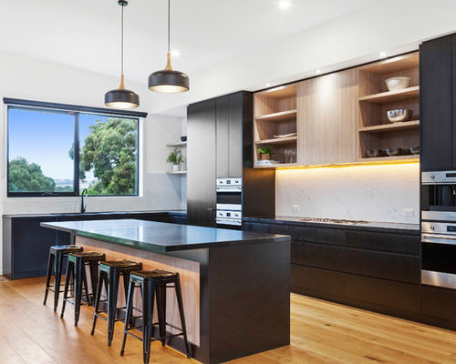 Design Ideas For A Contemporary L Shaped Open Plan Kitchen In Melbourne  With Flat