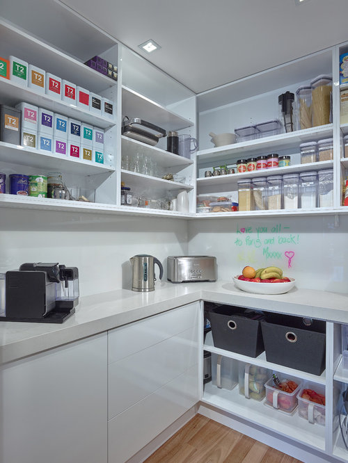 Inspiration For A Small Contemporary Kitchen Pantry In Adelaide With Open  Cabinets, White Cabinets And