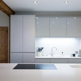 Stunning Open plan light grey and dusk grey kitchen