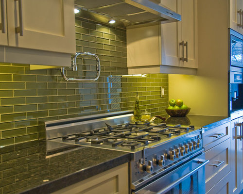 green tile backsplash kitchen moss green houzz 17952