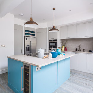 Stylish Blue Accented Kitchen with Walk In Larder