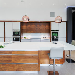 Stylish copper kitchen featuring accent lighting
