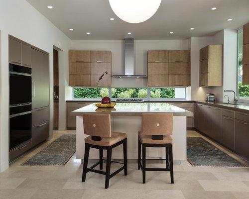 Geschlossene, Mittelgroße Moderne Küche Mit Unterbauwaschbecken,  Flächenbündigen Schrankfronten, Quarzwerkstein Arbeitsplatte, Elektrogeräten