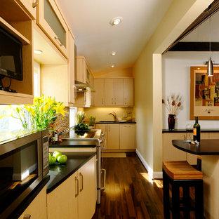 ワシントンD.C.の中サイズのコンテンポラリースタイルのおしゃれなキッチン (アンダーカウンターシンク、フラットパネル扉のキャビネット、淡色木目調キャビネット、人工大理石カウンター、マルチカラーのキッチンパネル、モザイクタイルのキッチンパネル、シルバーの調理設備の、濃色無垢フローリング、アイランドなし、茶色い床) の写真