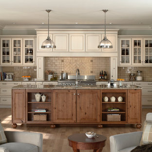 Mid-sized transitional eat-in kitchen pictures - Example of a mid-sized transitional galley medium tone wood floor eat-in kitchen design in Minneapolis with glass-front cabinets, beige cabinets, beige backsplash, subway tile backsplash, paneled appliances, granite countertops and an island