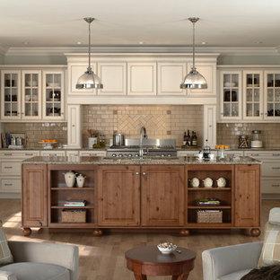 Zweizeilige, Mittelgroße Klassische Wohnküche mit Glasfronten, beigen Schränken, Küchenrückwand in Beige, Rückwand aus Metrofliesen, Elektrogeräten mit Frontblende, Granit-Arbeitsplatte, braunem Holzboden und Kücheninsel in Minneapolis