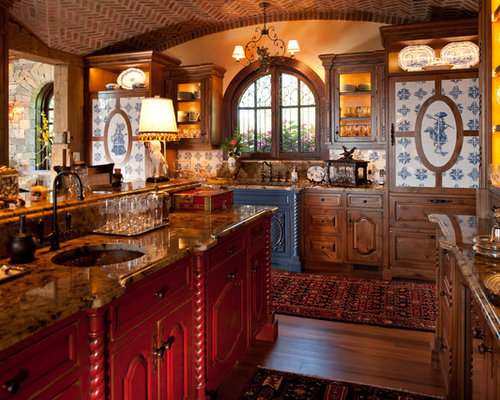 Traditional Eat In Kitchen Design Ideas Renovations Photos With Red Cabinets