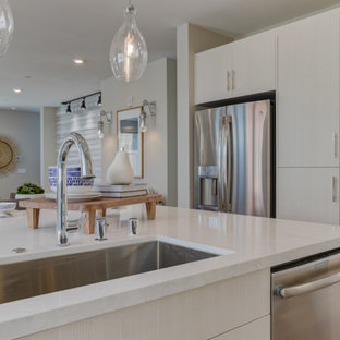 Open concept kitchen appliance - Inspiration for a l-shaped open concept kitchen remodel in San Francisco with an undermount sink, shaker cabinets, white cabinets, stainless steel appliances and an island