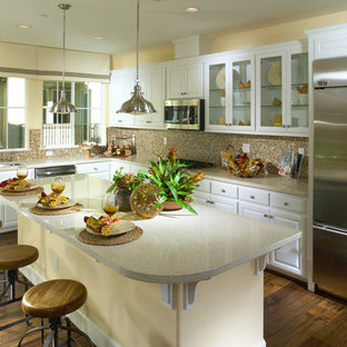 Large transitional eat-in kitchen ideas - Large transitional l-shaped dark wood floor eat-in kitchen photo in San Francisco with an undermount sink, raised-panel cabinets, white cabinets, granite countertops, mosaic tile backsplash, stainless steel appliances and an island