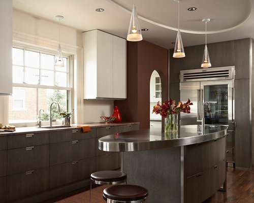 Inspiration For A Large Contemporary L Shaped Dark Wood Floor And Brown  Floor Kitchen Remodel
