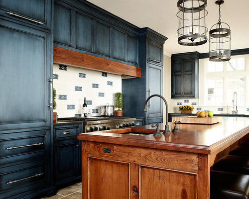 Stained Blue Cabinets Ideas, Pictures, Remodel and Decor
