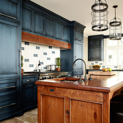 Elegant Kitchen Photo In New York With Wood Countertops Recessed Panel Cabinets Blue