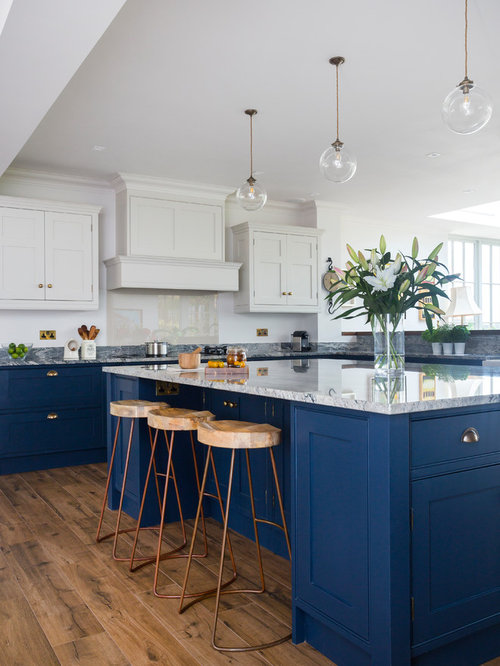 Inspiration For A Medium Sized Traditional L Shaped Kitchen In Kent With  Beaded Cabinets,