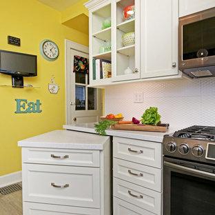 ルイビルの小さいトランジショナルスタイルのおしゃれなキッチン (ダブルシンク、落し込みパネル扉のキャビネット、白いキャビネット、人工大理石カウンター、白いキッチンパネル、セラミックタイルのキッチンパネル、シルバーの調理設備の、クッションフロア、アイランドなし、グレーの床、白いキッチンカウンター) の写真