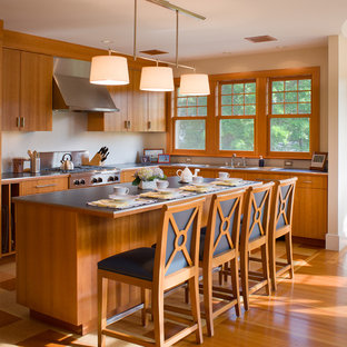 プロビデンスのビーチスタイルのおしゃれなキッチン (アンダーカウンターシンク、中間色木目調キャビネット、ラミネートカウンター、メタリックのキッチンパネル、メタルタイルのキッチンパネル、シルバーの調理設備の、コルクフローリング) の写真