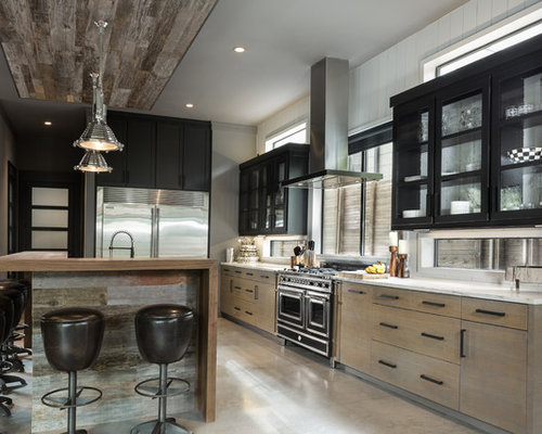 industrial kitchen design. Large industrial open concept kitchen pictures  l shaped concrete floor Our 50 Best Industrial Kitchen Ideas Remodeling Photos Houzz