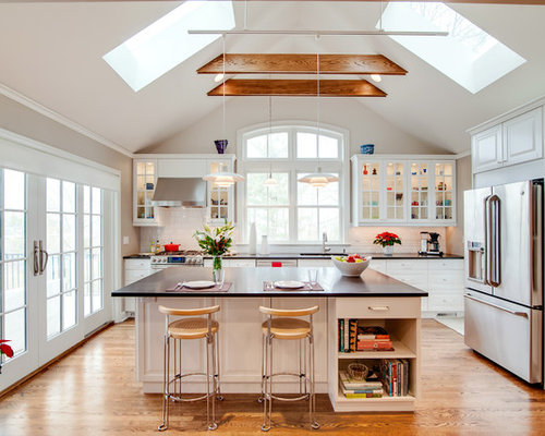 Vaulted ceiling lighting ideas and photos houzz photo of a medium sized traditional single wall kitchendiner in new york with aloadofball Images