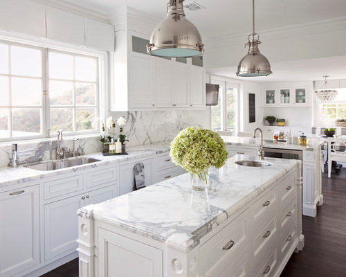 White Marble Kitchen Home Design Ideas, Pictures, Remodel and Decor